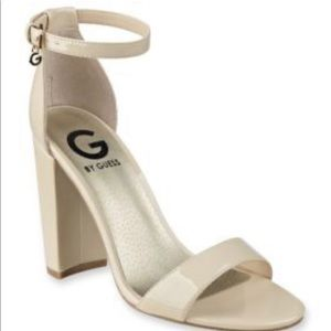 G by Guess Nude Block Heel Sandals Sz 9
